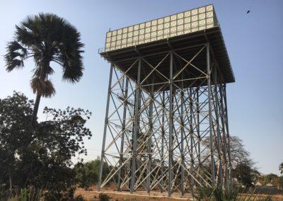 Réservoir acier de 2100 m3 sur tour métallique de 20m